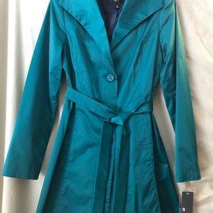 Teal rain coat